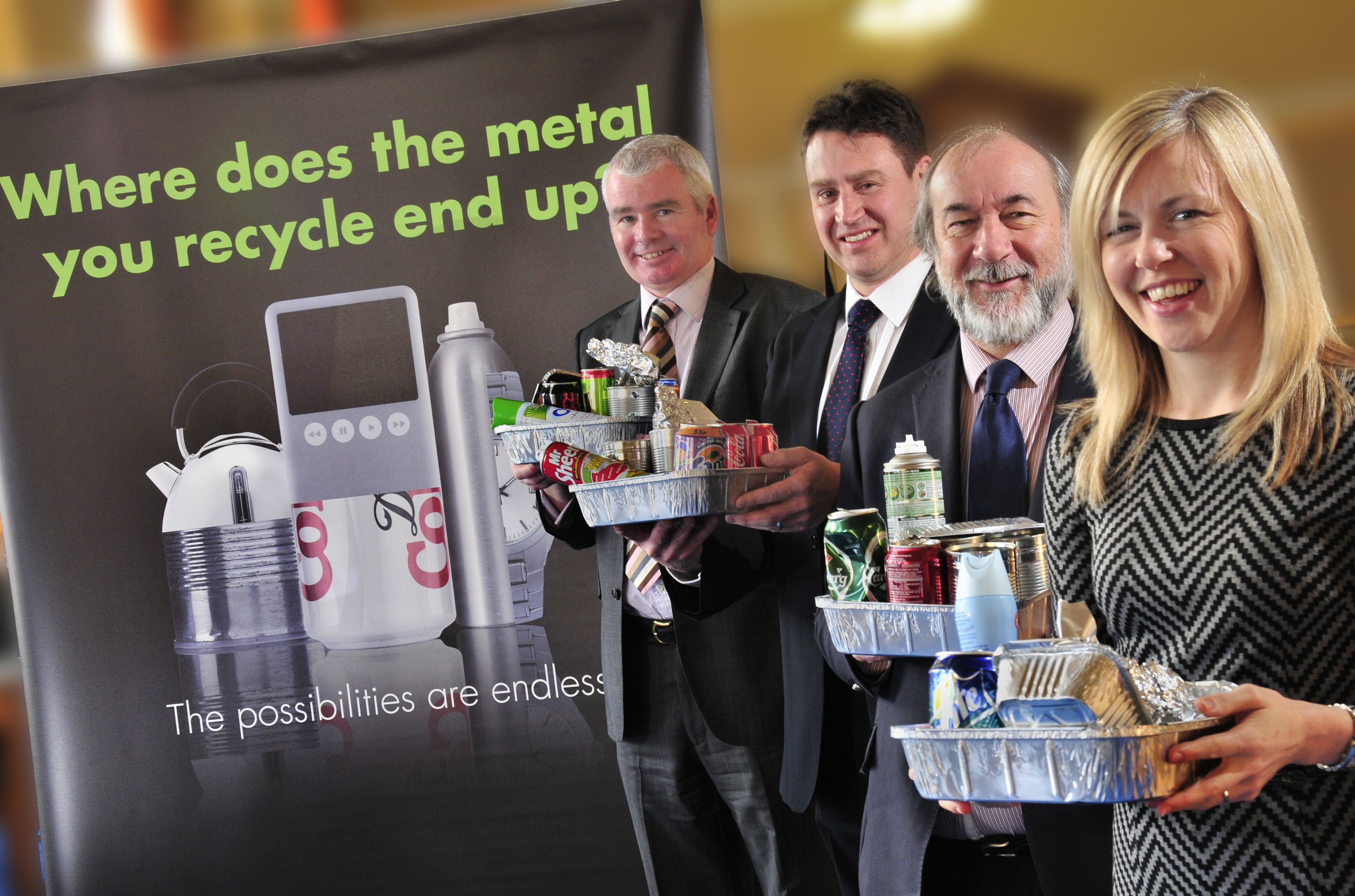 From left to right: Rick Hindley, Executive Director, Alupro; Mike Stafford, Regional Manager, Viridor; •	Cllr Derek Osbourne, Chair of the Joint Waste Committee and Rachel Lewis, Chair of the South London Waste Partnership Management Group